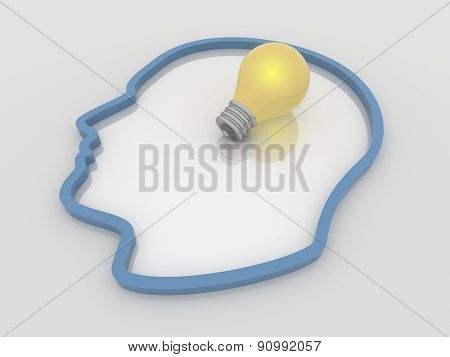 Light Bulb Idea Inside A Head, 3D Solution Concept