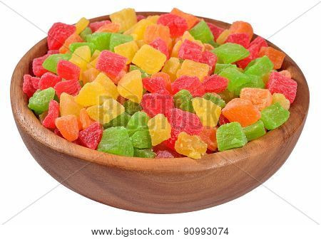 Candied Fruits In A Wooden Bowl On A White