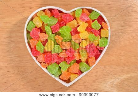 Candied Fruits In Plate In The Form Of Heart