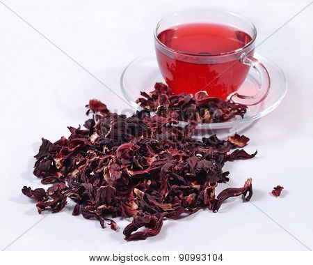 Cup Of Hibiscus Tea And A Dried Petals Of Hibiscus