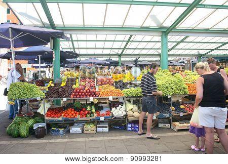 People On Market In Rovinj