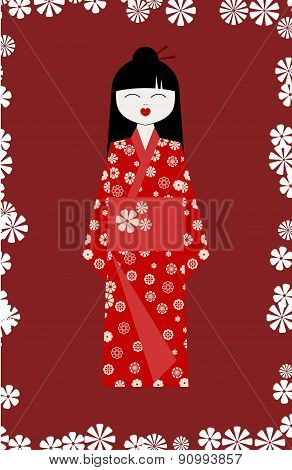 Asian Girl In Traditional Costume