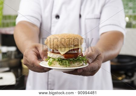 Close Up Chef Presented Hamburger
