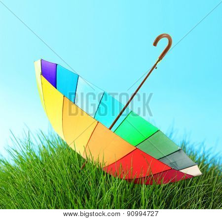 Colorful umbrella on grass on blue background