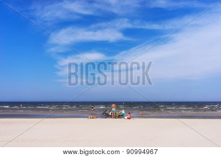 Sandy Golden Beach Of The Baltic Sea With Blue Sky In Summer