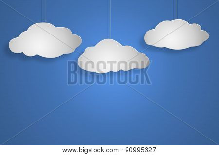 Concept Cloud On Blu Background