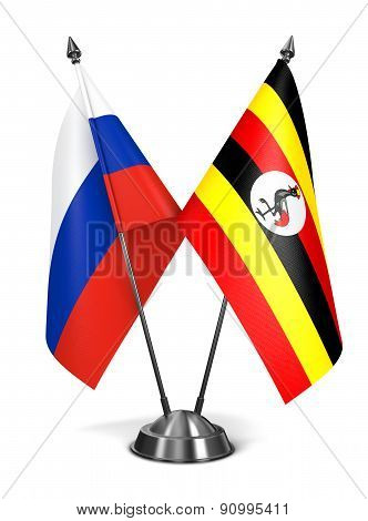 Russia and Uganda - Miniature Flags.