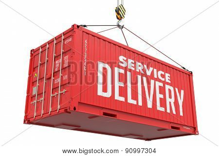 Service Delivery - Red Hanging Cargo Container.