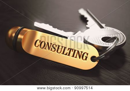 Consulting Concept. Keys with Golden Keyring.
