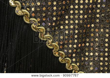 1920's Gold Sequin Dress Detail with Black Fringe
