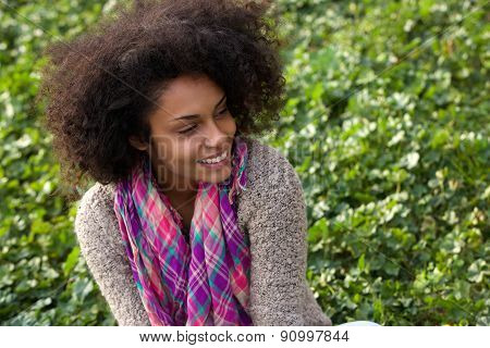 Happy Young African American Woman Smiling