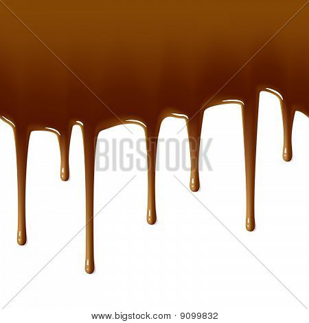 Milk chocolate drips. Seamless illustration.