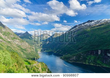 End Of Geirangerfjord And Town Geiranger In Valley