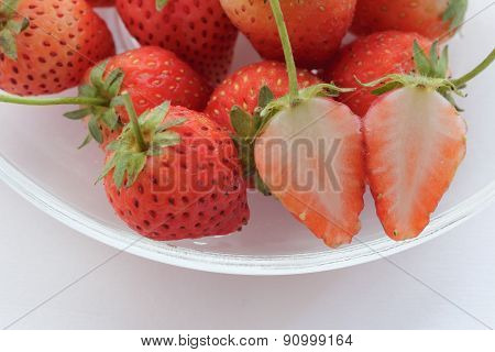 Fresh Strawberries With White Background