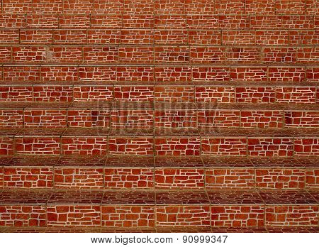 Steps of decorative tiles closeup