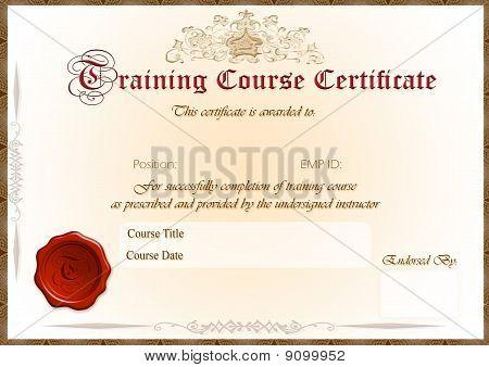 Training course Certificate