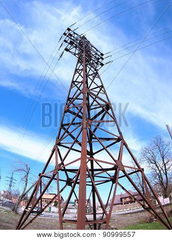 High-voltage Tower With Wires