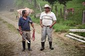 stock photo of vaquero  - Handsome male ranch hands on dairy farm in Costa Rica - JPG