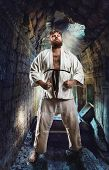 picture of karate  - Fat karate fighter - JPG