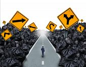 image of waste management  - Garbage direction concept and environmental symbol as a person walking on a straight road with signs cutting through a background with garbage bags as a metaphor for global waste management hope for the future - JPG