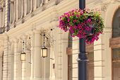 picture of lamp post  - Lamp post with pink flowers in Lodz - JPG