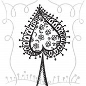 pic of spade  - Hand drawing zentangle element with decorative frame - JPG