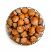 image of hazelnut  - hazelnuts in a glass cup isolated on a white background - JPG