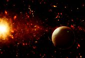 foto of fiction  - 3D space background with fictional planet - JPG
