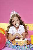 Little Blond Birthday Party Girleating Cake With Hands