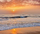 picture of serenity  - Serene tranquil morning seascape on sunrise on beach - JPG