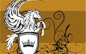 stock photo of pegasus  - heraldic pegasus coat of arms background in vector format - JPG