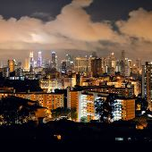 picture of faber  - Singapore skyline viewed from mt faber at night with urban buildings - JPG