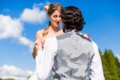 stock photo of begging  - Groom begging bride for mercy after bridal kidnapping  - JPG