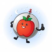 image of zero  - A happy smiling apple in outer space wearing a space helmet - JPG