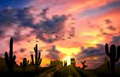 foto of superstition mountains  - Illustration of cactus tree when the sunset - JPG