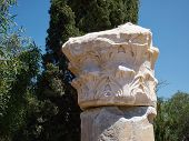 pic of ionic  - Details of a Corinthian Greek Ionic Roman Classical Marble Column with sky background - JPG