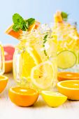 pic of infusion  - Infused water with fresh citrus fruits and ice. ** Note: Shallow depth of field - JPG
