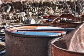 foto of day judgement  - Group of old rusty barrels with toxic chemical waste - JPG