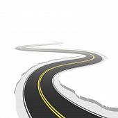 image of long winding road  - The vector illustration of a winding road - JPG