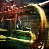 image of trumpet  - abstract green grunge vintage sound background with trumpet - JPG