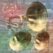 pic of trumpet  - abstract grunge vintage sound background with trumpets - JPG