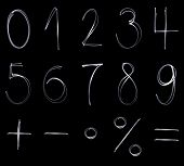 image of math  - Different flourescent numbers and math symbols in white neon color - JPG