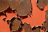 stock photo of scrap-iron  - Rusted iron surface with curled - JPG
