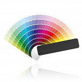 stock photo of color wheel  - Detailed vector illustration of an open color fan - JPG
