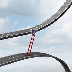 stock photo of promises  - Career move business concept as a businessman climbing a ladder of success away from a road going down to a path rising up as a metaphor for timing strategy and seeking new promising opportunities in the market - JPG