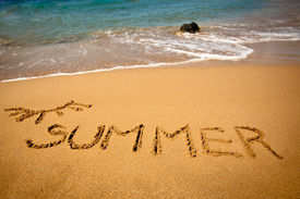 stock photo of summer beach  - This is a photo of inscription  - JPG