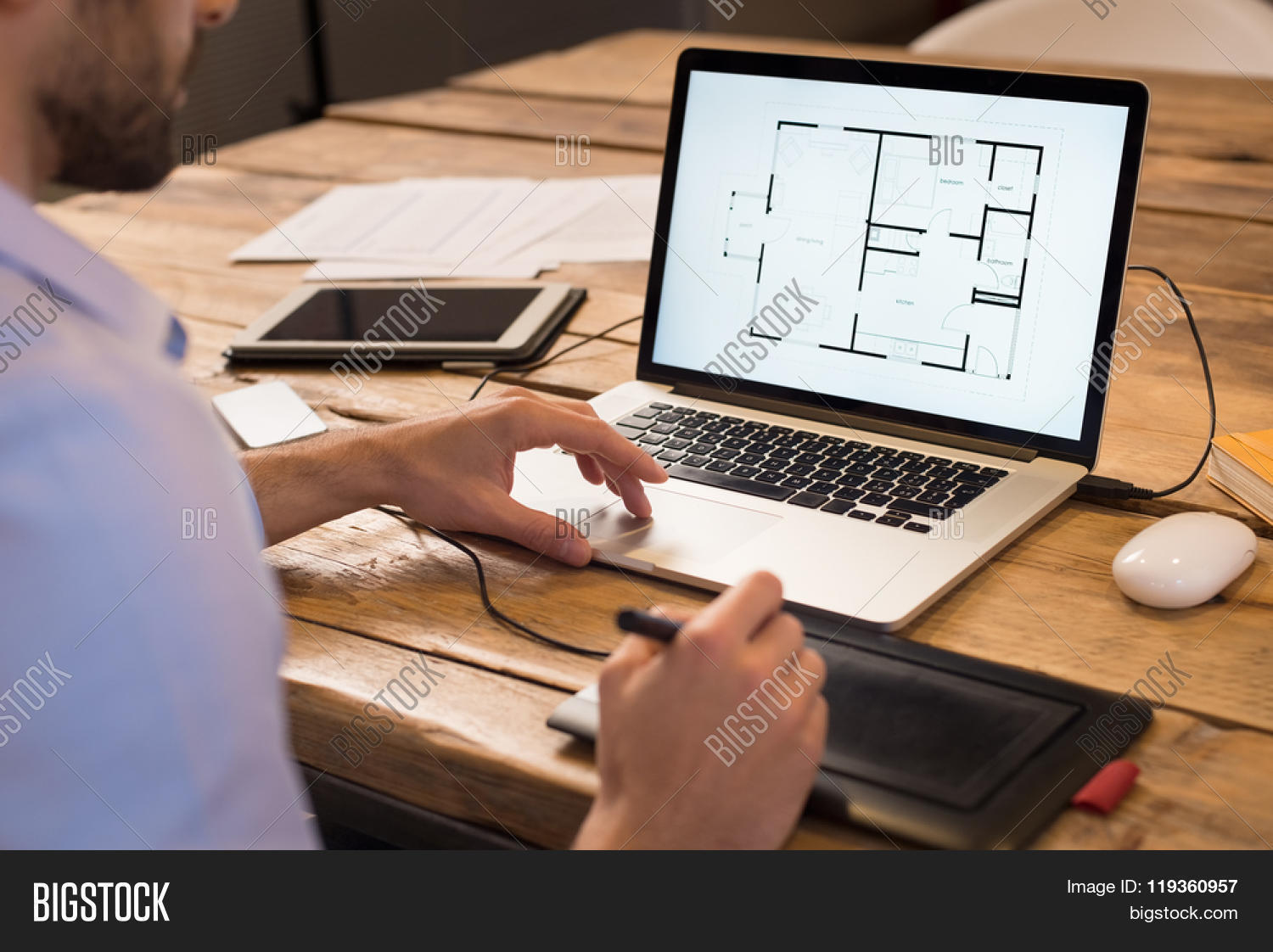 Close Up Of A Young Interior Designer Working In Office Architect On Laptop At