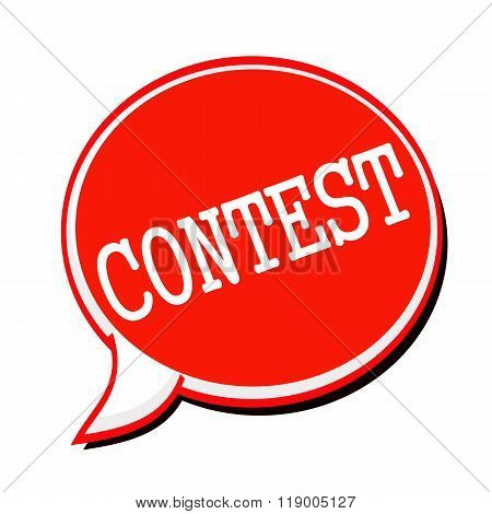 Contest White Stamp Text On Red Speech Bubble