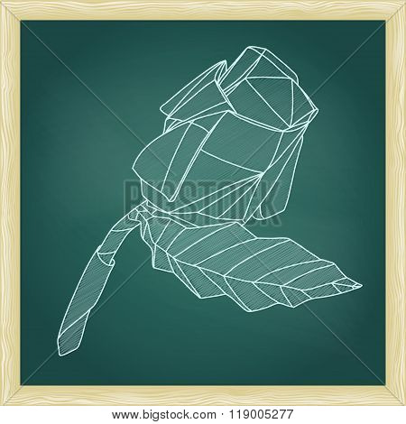 Illustration Of Abstract Origami Red Rose Flower