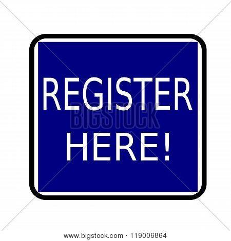 Register Here White Stamp Text On Buleblack Background